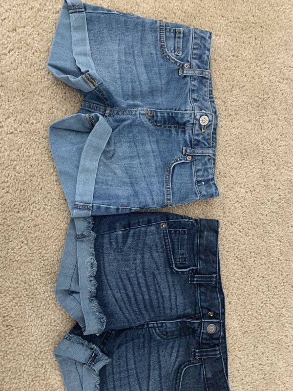 girls jean shorts two pairs, youth medium size 7-8 cat and jack