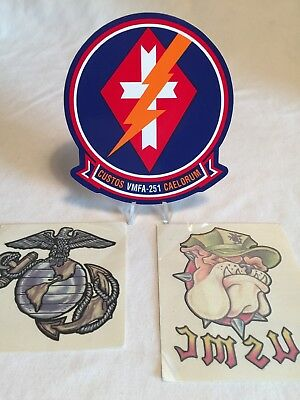 Marine Corps Tattoo (USMC Marine Corps VMFA-251 Squadron Command Decal Plus 2 Temp Marine Tattoo's)