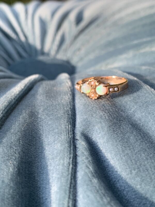 Antique Victorian Pearl And Opal 10k Ring