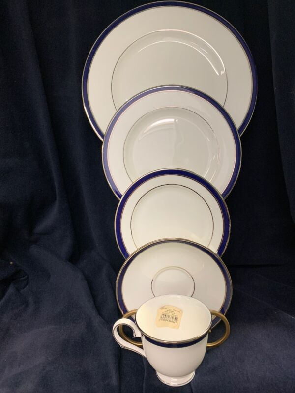 Lenox Federal Cobalt PLATINUM 5 Piece Place Setting **NEW** In Box