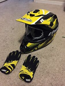 Kids motocross helmet, goggles & gloves.