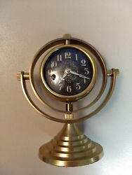 Pocket Watch Brass Woodburn Table Clock w/ Antique Face & Stand
