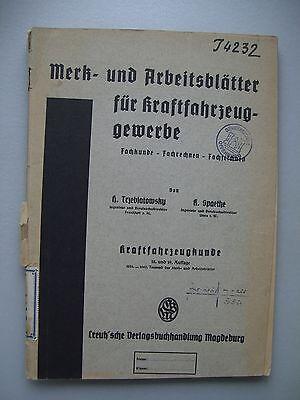Merk- Arbeitsblätter Kraftfahrzeuggewerbe 1942 Kraftfahrzeugkunde 1942