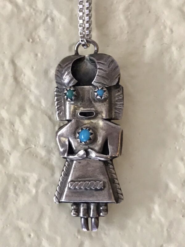 Vtg Navajo Turquoise KACHINA PENDANT SIGNED O 925 Sterling Necklace