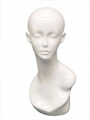 Adult Female Glossy White Plastic Mannequin Head Display