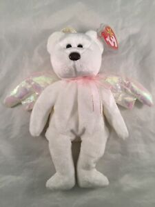 "Ty Beanie Baby ""Halo"" the Angel Bear 1998 Retired RARE brown nose and Tag 0be3725a2a"