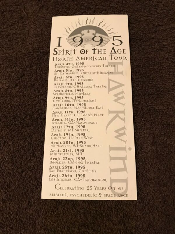 Hawkwind 1995 Spirit Of The Age North American Tour Dates Promo