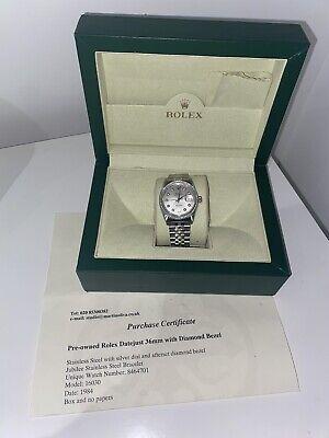Rolex Date just 36mm Diamond Bezel