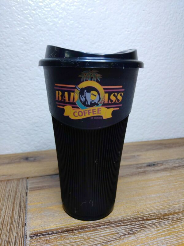 Bad Ass Coffee Co. Black Plastic Travel Mug Cup Tumbler with lid Reusable AGAIN!