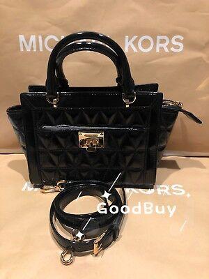 NWT Michael Kors VIVIANNE Quilted SM TZ Patent Leather Messenger Bag Black (Patent Leather Messenger)