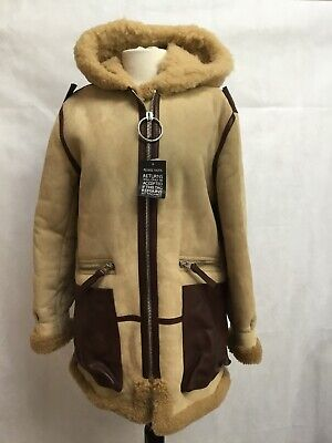 ACNE STUDIOS NWT Lorin hooded Shearling And Leather Trimmed coat 34