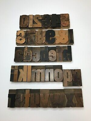 2.5 Inch Set Letterpress Print Type Wood Letters And Numbers 36 Pieces
