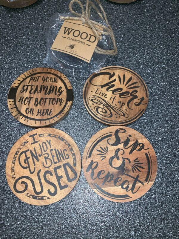 New Wood Wooden Jozie B Rustic Acacia Coasters Coaster Set Bar Mancave Wine Beer