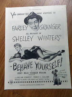 1951 Movie Ad Farley Granger Shelley Winters BEHAVE YOURSELF