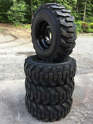 4 New 12-16.5 Deestone Skid Steer Tires On Black Wheelsrims -12x16.5-12 Ply