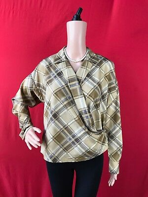 Lauren Ralph Lauren Plaid Crepe Wrap Shirt PINK Petite Small (P/S) $155 MONIART ()