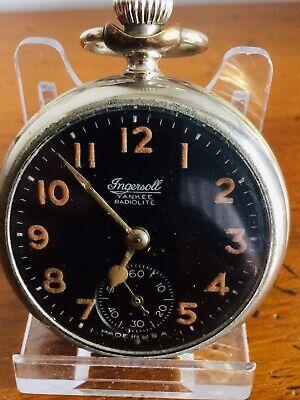 VINTAGE INGERSOLL YANKEE RADIOLITE POCKET WATCH WORKING ORDER KEEPING TIME