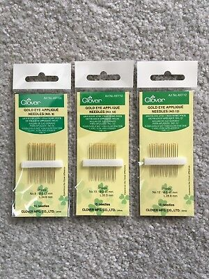 Clover Gold Eye Applique Needles Bundle - 3 Packs! 45 Total Needles! - Gold Eye Applique Needles