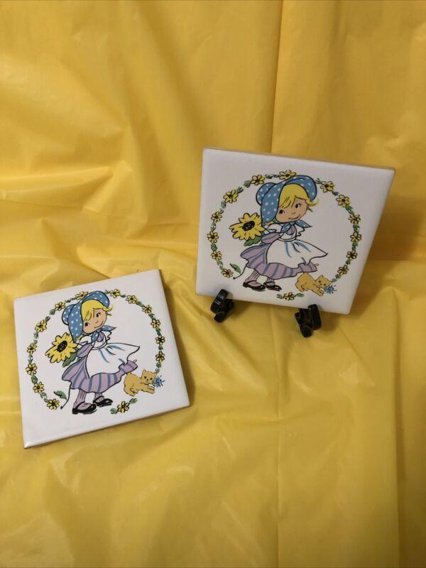 Vintage Jasco Tiles Trivets Girl Flowers kitten 4.25 sq Set of 2 Kitchen Decor