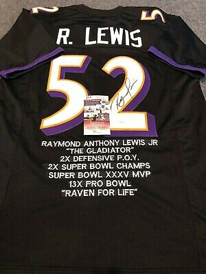 82e1326b BALTIMORE RAVENS RAY LEWIS AUTOGRAPHED SIGNED STAT JERSEY JSA COA