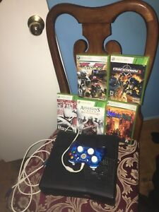 Xbox 360 250GB with games, controller and cords