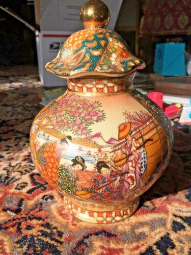 Vintage Royal Satsuma Geisha Girls Landscape Porcelain Hand Painted Vase Lid