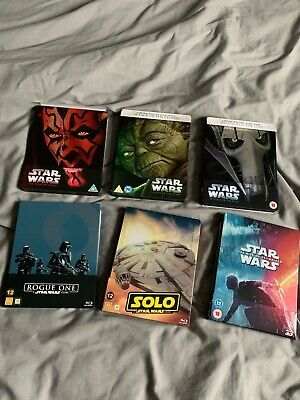 star wars steelbook bundle. Great condition eps 1-3, rogue one, solo, ep 9