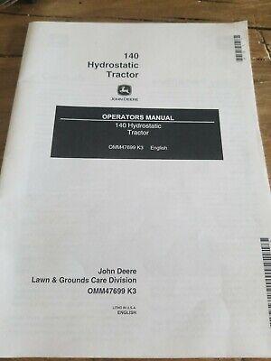 NEW JOHN DEERE 140 HYDROSTATIC OPERATOR'S MANUAL