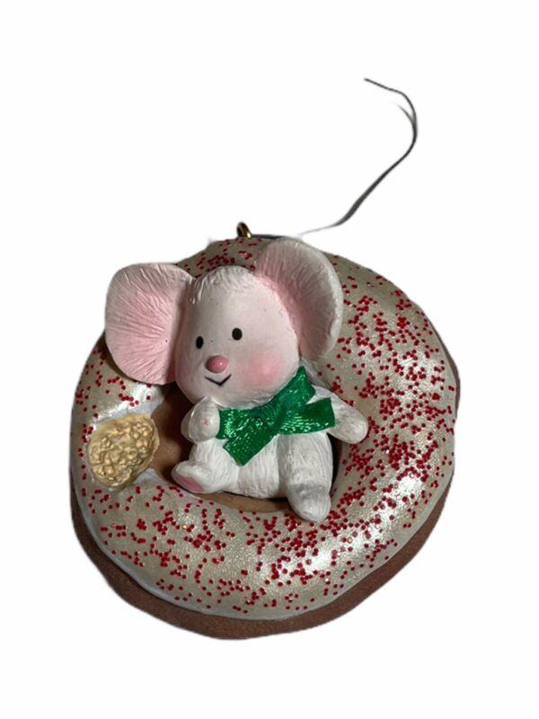 Vintage Hallmark Christmas Ornament Midnight Snack Mouse Donut 1988 No Box VTG