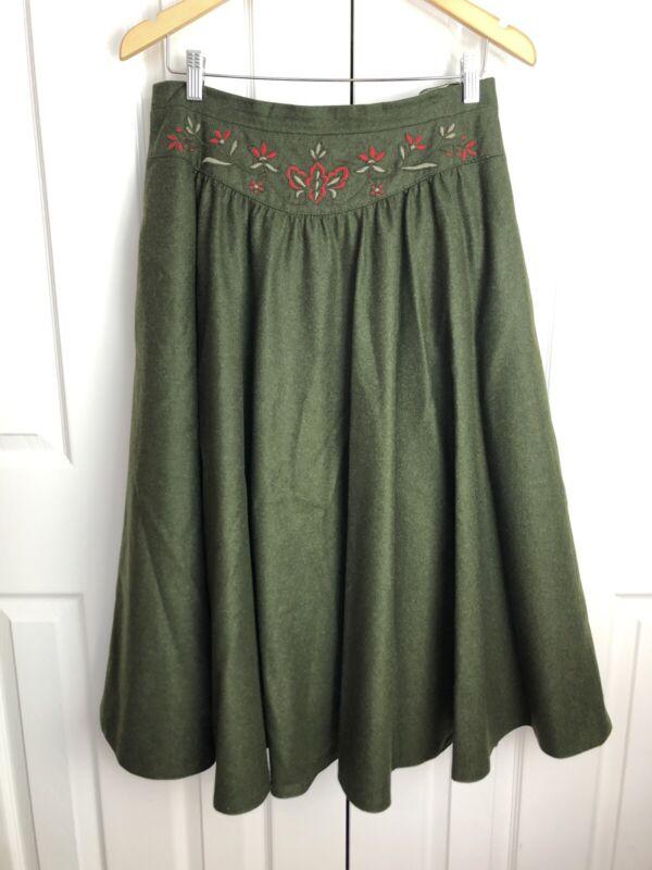 JULIUS LANG Trachten Austrian Green Wool Floral Embroidery Long Full Skirt Sz 42