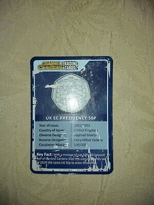 Change Checker Trading Card 50p UK EC Presidency Rare EC EEC 1992 1993