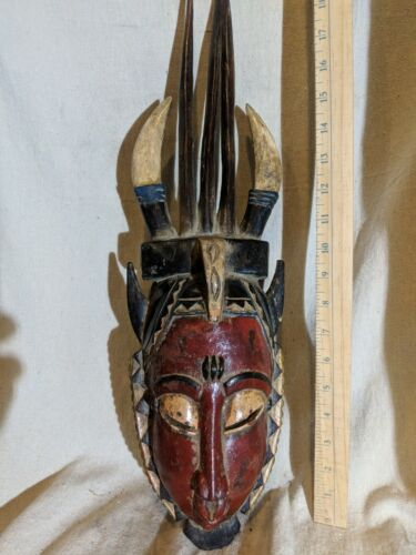 Horned Guro Yaure Mask with Beautiful Colors — Authentic Carved African Wood Art