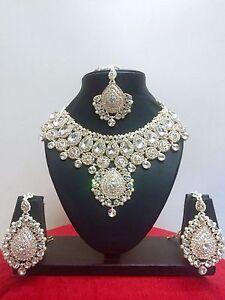 Indisch Hochzeit Braut Frau Modeschmuck Rose Gold Halskette Ohrring Schmuck Set