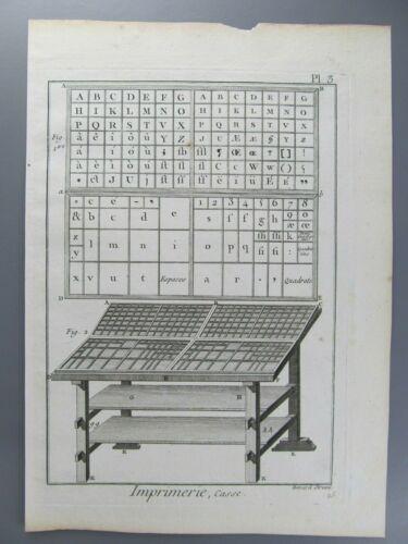 Imprimerie, Casse, Original Engraving, Diderot