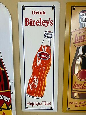 Vintage Drink Bireley's Orange Cola Bottle Door Push Sign ORIGINAL Soda Fountain