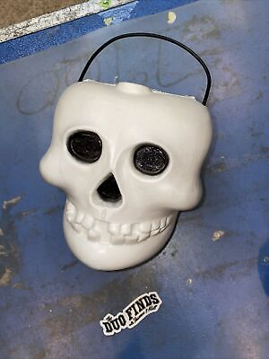 Vintage Skull Skeleton Candy Bucket Pail Container Halloween Blow Mold RARE