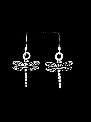 Dragonfly Dragon Fly Dangle Charm Earrings, Sterling Silver French Hook Ear (Dragonfly French Wire Earrings)