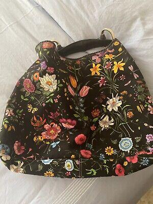 Authentic Vintage Gucci Horsebit Floral Canvas Limited Large Hobo Shoulder Bag