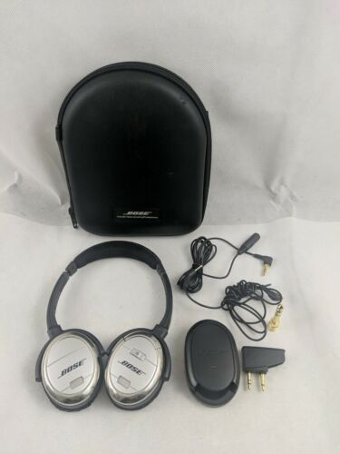 Bose QuietComfort 3 QC3 Noise Cancelling Headphones Case, Cord, charger, Battery