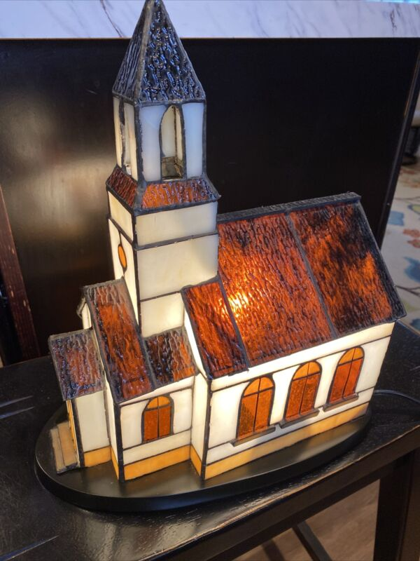 Tiffany Style Stained Glass Lighted Christmas Village  Church House Lamp School