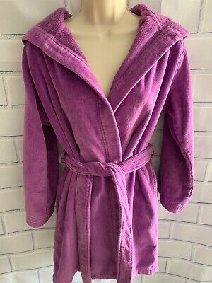 Lacoste Purple One Size Hooded Short Robe Cotton Terry Croc Patch Belt Small Fit