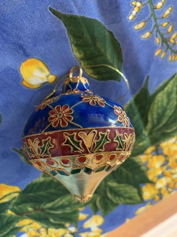 "Vintage Cloisonne HOLLY BERRY POINSETTIA Enameled BALL Christmas Ornament 3"""