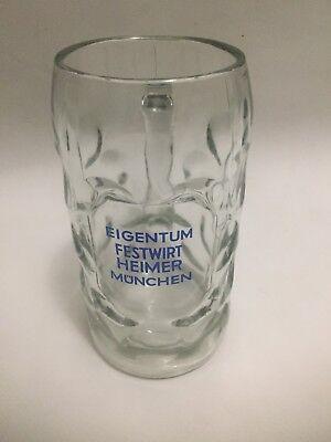 Vintage EIGENTUM FESTWIRT HEIMER MUNCHEN German Glass Beer Mug Stein 1L