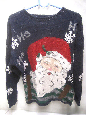 Ugly Christmas Party Sweater Medium Womens Blue](Ugly Christmas Sweater Women)