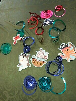 12 PC BIRTHDAY BOY PIRATE OCEAN THEME SPIRAL HANGING DECORATIONS OCTOPUS shiny @ - Ocean Theme Decorations