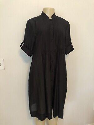 LAFAYETTE 148 Black Sheer Cotton/Silk Pleated Tunic Shirt Dress w/ Pockets 6