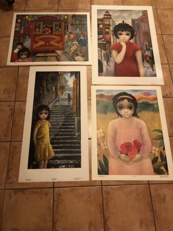 4 Vintage Margaret Walter Keane Lithograph Prints 1960's Big Eyes