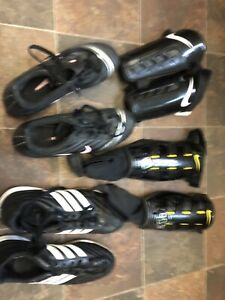Ladies soccer shoes and shin pads