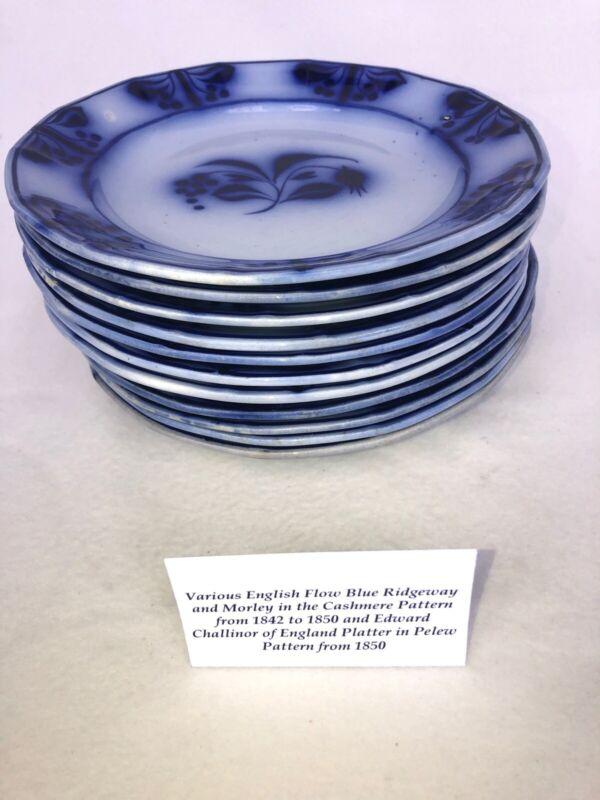 "19th Century English Flow Blue Plate 8.5"" Nice Condition"