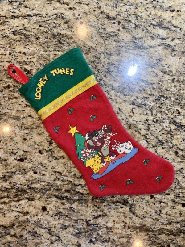 Vtg 1995 Looney Tunes Tasmanian Devil Felt Stocking Warner Bros Christmas